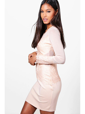 BOOHOO Mariane Mesh+Eyelash Lace Bodycon Dress