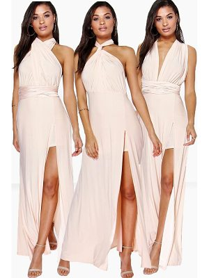 BOOHOO Marjorie Multiway Side Split Skirt Maxi Dress