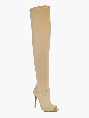 BOOHOO Martha Peeptoe Over The Knee Boot