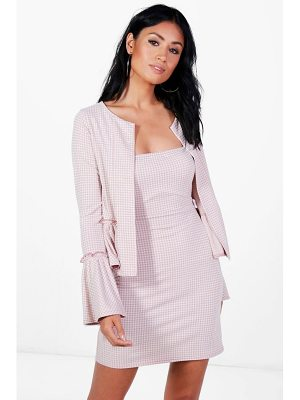 BOOHOO Mavis Gingham Dress & Frill Jacket Co-Ord