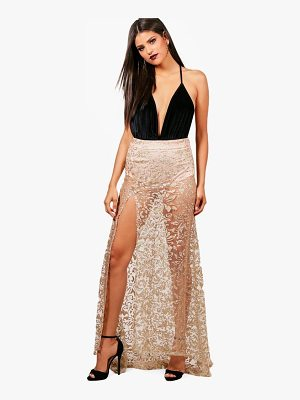 Boohoo Maya Glitter Mesh Baroque Fishtail Sheer Maxi Skirt