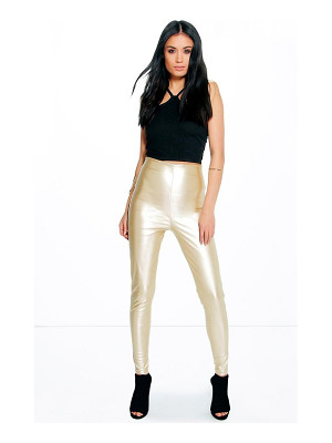Boohoo Maya Skinny Side Zip Leather Look Trousers