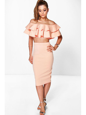 BOOHOO Meeka Double Ruffle Crop & Midi Skirt Co-Ord Set