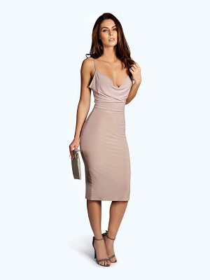 BOOHOO Meg Slinky Strappy Cowl Front Bodycon Dress
