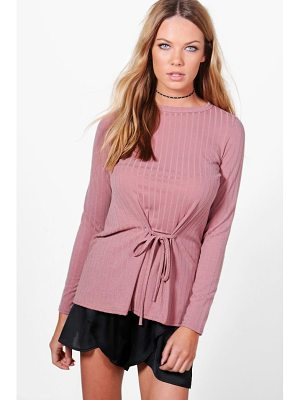 BOOHOO Megan Corset Detail Rib Knit Top