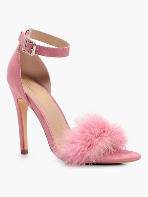 BOOHOO Megan Feathered Trim Two Part Heel