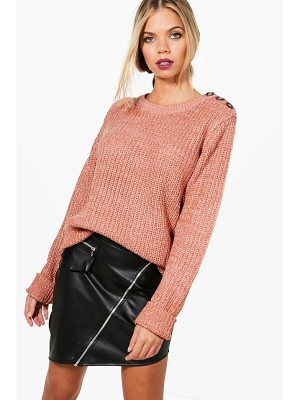 BOOHOO Megan Marl Knitted Button Detail Fisherman Jumper