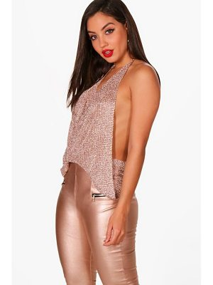 BOOHOO Megan Metallic Knit Halterneck Top