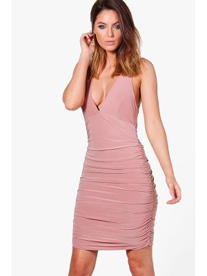 BOOHOO Megan Slinky Ruched Bodycon Dress