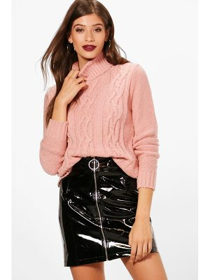 BOOHOO Melissa Cable Roll Neck Jumper