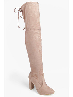 BOOHOO Mia Block Heel Lace Up Back Over Knee Boot