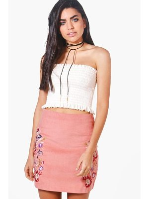 BOOHOO Miah Embroidered Cord A Line Skirt