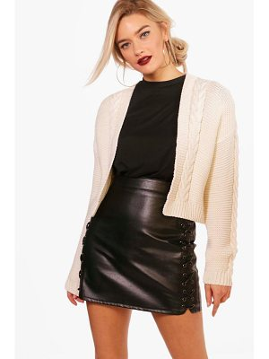 BOOHOO Millie Cable Knit Crop Cardigan