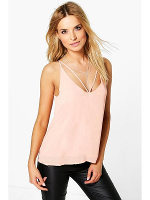 BOOHOO Millie Caged Strappy Woven Cami