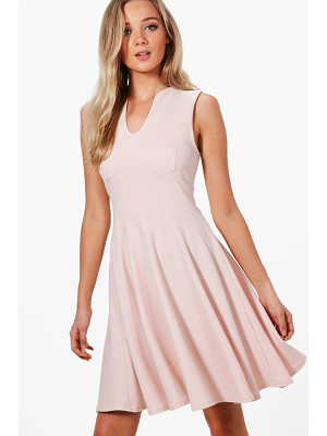 BOOHOO Millie Fitted Skater Sleeveless Midi Dress