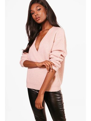 BOOHOO Millie Plunge Wrap Over Soft Knit Jumper