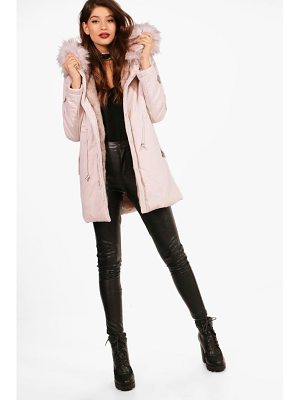 Boohoo Milly Boutique Faux Fur Trim Parka