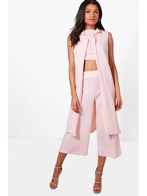 Boohoo 3 Piece Crop Culotte & Duster Co-Ord Set