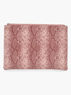 BOOHOO Mol Faux Snake Clutch Bag