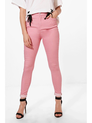 BOOHOO Molly 5 Pocket Pink Denim Skinny Jeans