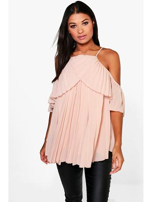 Boohoo Molly Cold Shoulder Pleated Ruffle Top