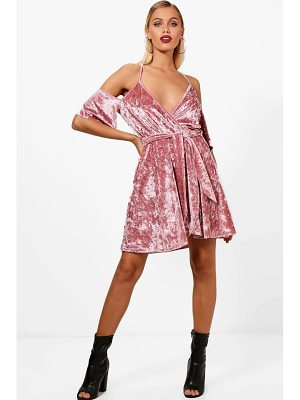 BOOHOO Molly Cold Shoulder Velvet Skater Dress