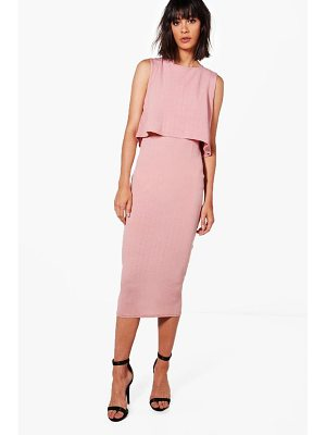 BOOHOO Molly Crinkle Double Layer Dress