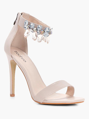 BOOHOO Molly Embellished Ankle Band 2 Part Heels