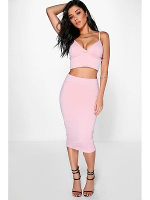 BOOHOO Mya Scuba Cross Bralet & Midi Skirt Co-Ord Set