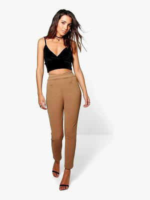 Boohoo High Waist Crepe Skinny Stretch Trousers