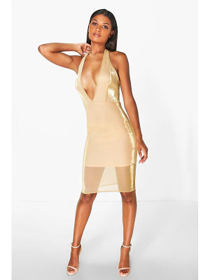 BOOHOO Natalia Halterneck Metallic Midi Dress