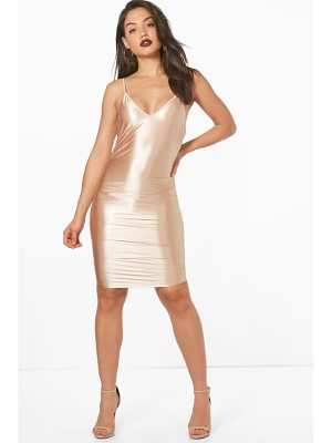 BOOHOO Neve Satin Ruched Bodycon Dress