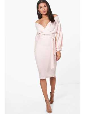 BOOHOO Nina Off The Shoulder Wrap Midi Bodycon Dress