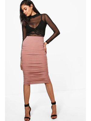 Boohoo Nolita Rouched Side Slinky Midi Skirt