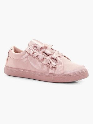BOOHOO Olivia Frill Trim Ribbon Lace Trainer