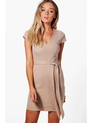 BOOHOO Olivia Pocket Front Belted Midi Dress