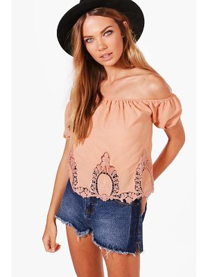 BOOHOO Ona Crochet Trim Off The Shoulder Top