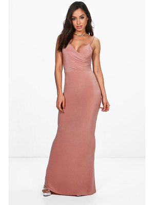 BOOHOO Orla Drape Top Slinky Maxi Dress