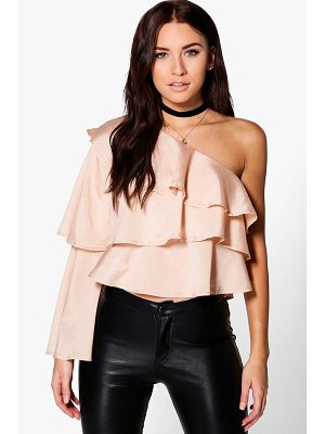 BOOHOO Orla One Shoulder Ruffle Top