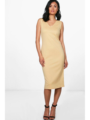 BOOHOO Orlagh V Neck Sleeveless Midi Dress