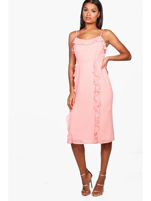 Boohoo Chiffon Strappy Ruffle Midi Dress