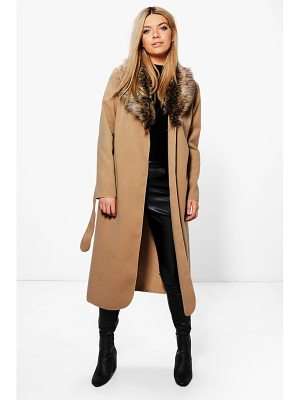 BOOHOO Paige Faux Fur Collar Wrap Coat