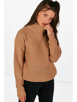 BOOHOO Paige Reverse Knit Turtle Neck Side Zip Jumper