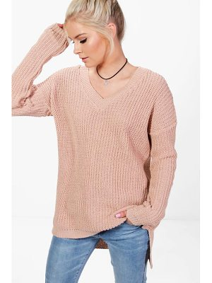 Boohoo Paige V-Neck Slouchy Jumper
