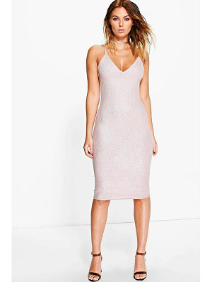 BOOHOO Pascale Metallic Rib Strappy Midi Dress