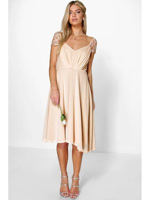 BOOHOO Peony Eyelash Lace Sleeve Chiffon Midi Skater Dress