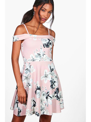BOOHOO Petra Floral Print Cold Shoulder Skater Dress