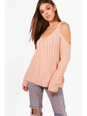 BOOHOO Phoebe Cable Knit Cold Shoulder Jumper