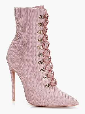 BOOHOO Phoebe Lace Up Pointed Toe Sock Boot