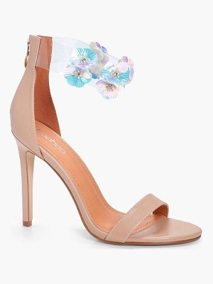 Boohoo Floral Embellished Clear 2 Part Heels
